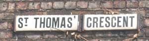 St Thomas' Crescent Newcastle street name sign