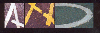Road markings as letters A N D