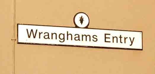 Street name sign British Wrangham's Entry Newcastle